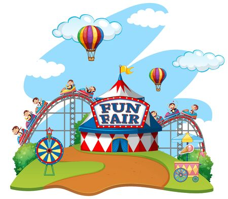 Scene with monkeys riding carts in fun fair on white background illustration