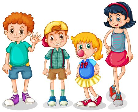 Four happy kids standing on white background illustration