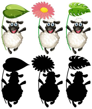 Happy sheep holding leaf and flower set illustration