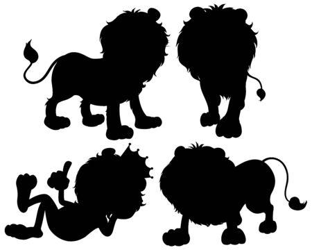 Set of lion silhouette illustration