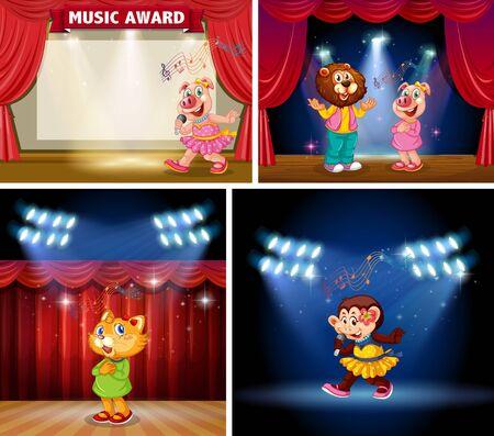 Set of animal kids on stage illustration