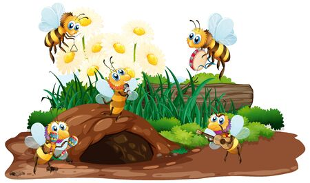Scene with bees flying in the garden illustration