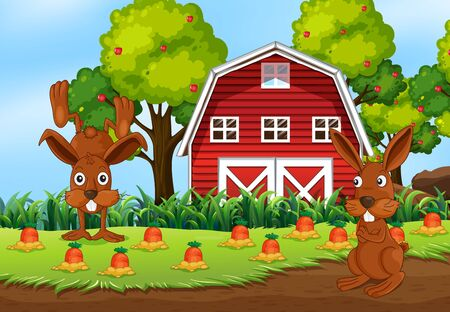 Farm scene in nature with barn and carrot farm and two rabbit illustration 版權商用圖片 - 149541115