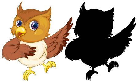 Owl with its silhouette illustration