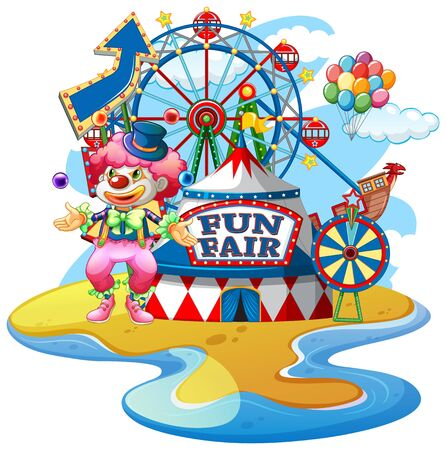 Scene with funny clown at fun fair on white background illustration