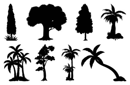 Set of plant and tree silhouette illustration