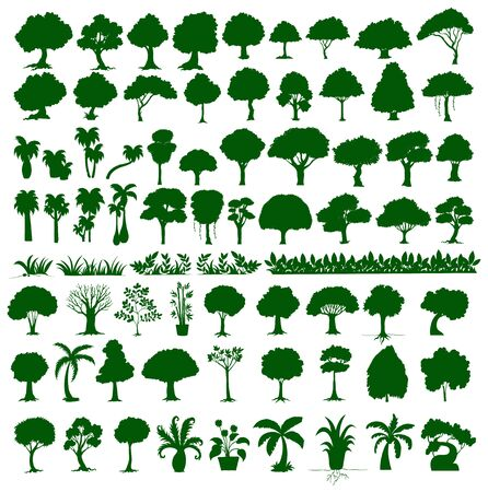 Set of tree and plant in green silhouette illustration