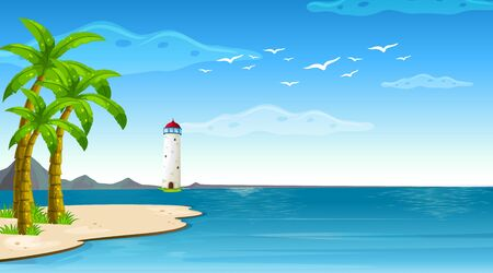 Scene with lighthouse in the middle of the ocean illustration