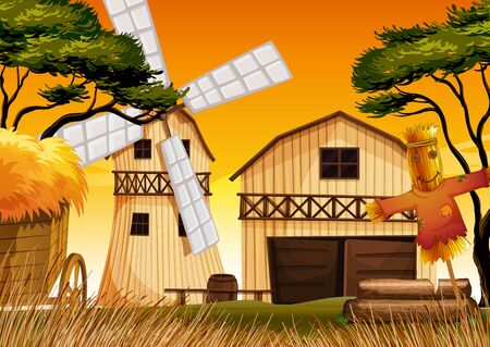 Farm scene in nature with barn and windmill and scarecrow illustration