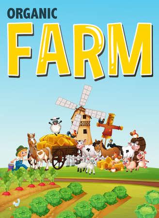 Organic farm logo with animal farm on farm background illustration Illustration