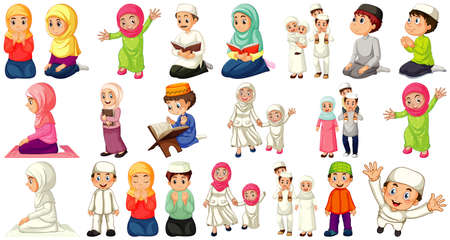 Set of different muslim people cartoon character isolated on white background illustration