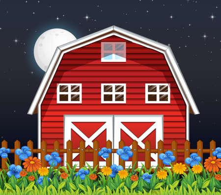 Farm barn and flowers at night scene illustration Stock Illustratie