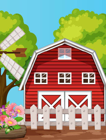 Farm in nature scene with barn and windmill illustration