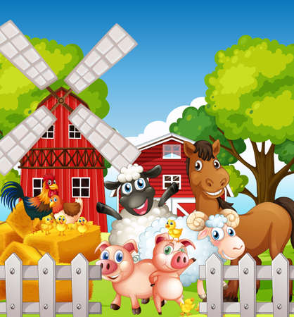 Farm scene in nature with barn and windmill and animal farm illustration