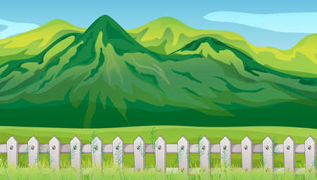 Big mountian in nature scene background illustration 向量圖像