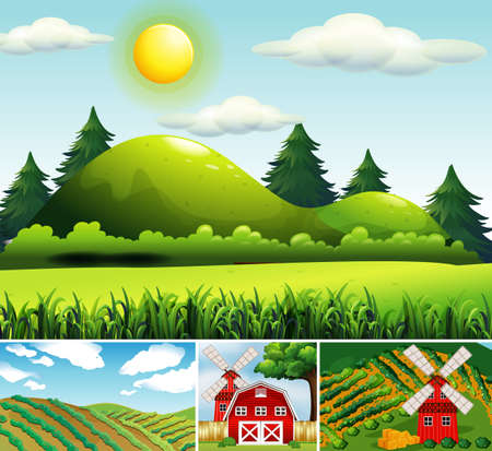 Set of different farm scenes cartoon style illustration 向量圖像