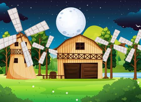 Farm scene with barn and mill at night illustration Illustration