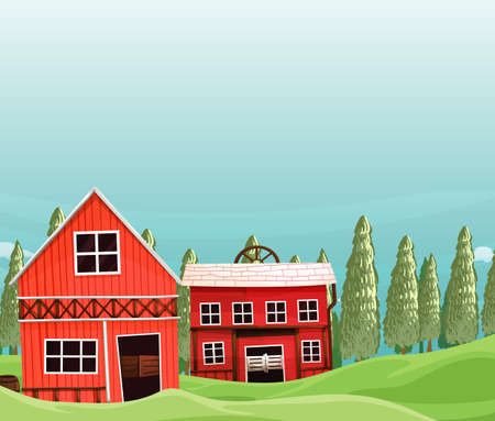 Farm in nature scene with barn and farm house illustration Illustration