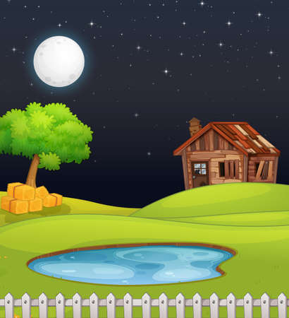 Farm scene with barn and swamp at night illustration 向量圖像