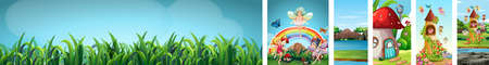 Six different scene of fantasy world with fantasy places and fantasy characters and blank sky with green grasses illustration Illustration