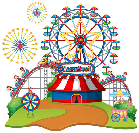 Scene with ferris wheel and monkeys on the rides on white background illustration