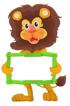 Blank sign template with cute lion on white background illustration