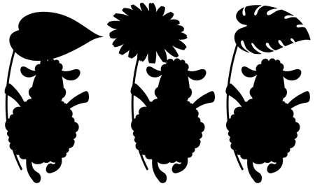Set of sheep silhouette illustration Ilustrace