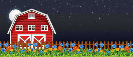 Farm scene with barn and flowers at night illustration