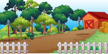 Long road to the house in nature scene illustration