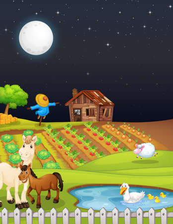 Farm scene with barn and horse at night illustration