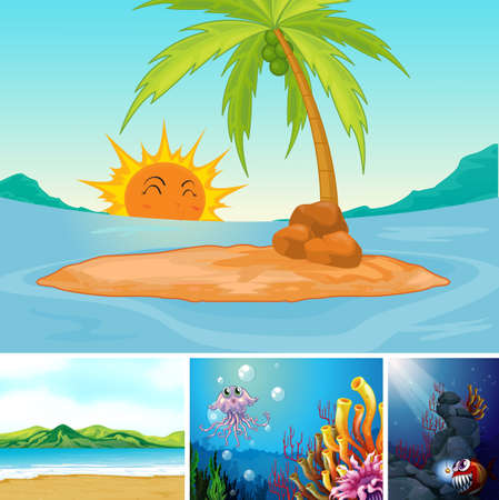 Four different scene of tropical beach and underwater with sea creater cartoon style illustration