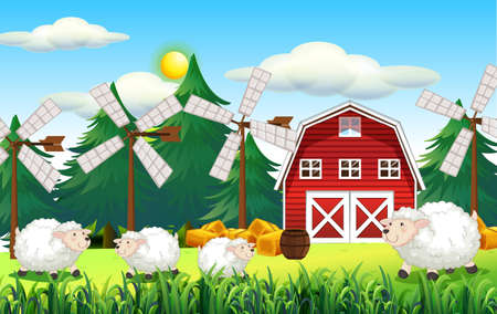 Farm scene with barn and cute sheep illustration