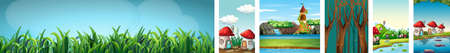 Six different scene of fantasy world with mushroom village and blank background with grasses and forest at night scene illustration