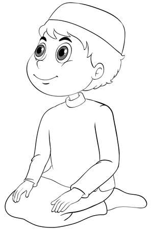 Arab muslim boy in traditional clothing sitting position outline illustration