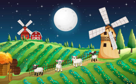 Farm scene with cute sheep and mill at night illustration