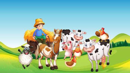 Farm scene with animal farm cartoon style illustration