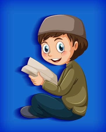 Muslim boy reading from the quran illustration