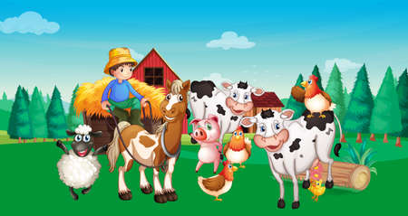 Farm scene with animal farm cartoon style illustration