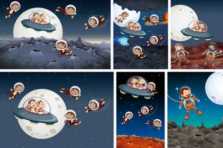 Set of monkey exploring space illustration