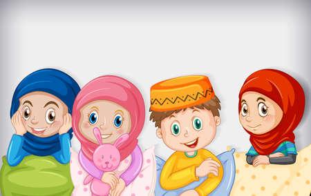 Muslim children cartoon character illustration Illusztráció
