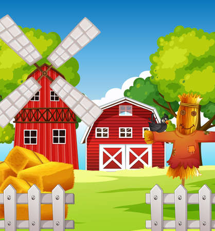 Farm scene in nature with barn and scarecrow and windmill illustration Stock Illustratie