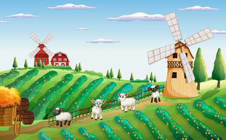 Farm scene in nature with windmill and sheeps illustration