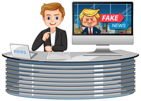 Announcer with fake news on tv or computer monitor screen isolated illustration