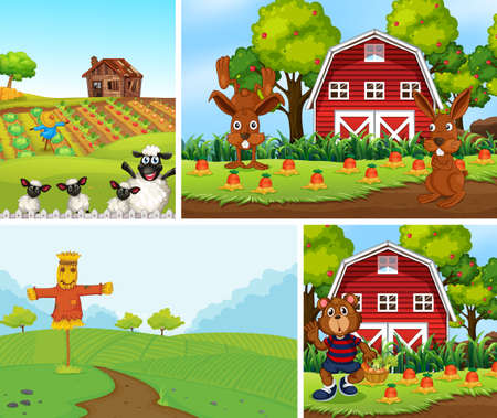Set of different farm scenes with animal farm cartoon style illustration