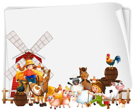 Blank paper with windmill and animal farm set isolated illustration