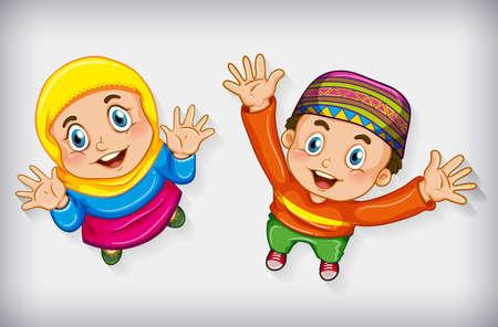 Happy muslim children from aerial view illustration