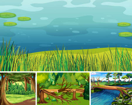 Four different nature scene of forest and swamp cartoon style illustration Illustration