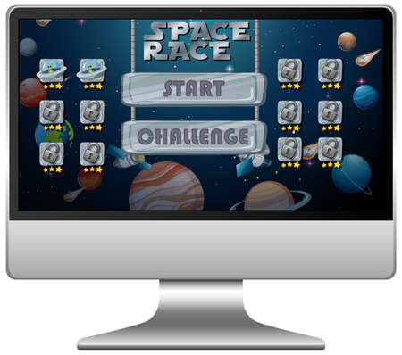 Space race mission game on computer screen illustration