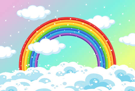 Rainbow with clouds and glitter on pastel sky background illustration