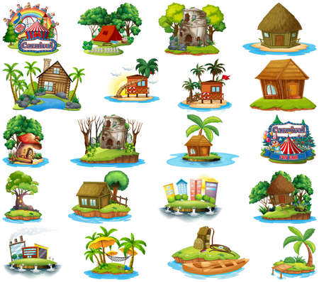 Set of different bangalows and island beach theme and amusement park isolated on white background illustration Vetores
